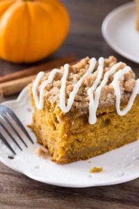 Pumpkin Coffee Cake - moist pumpkin cake with crunchy streusel topping