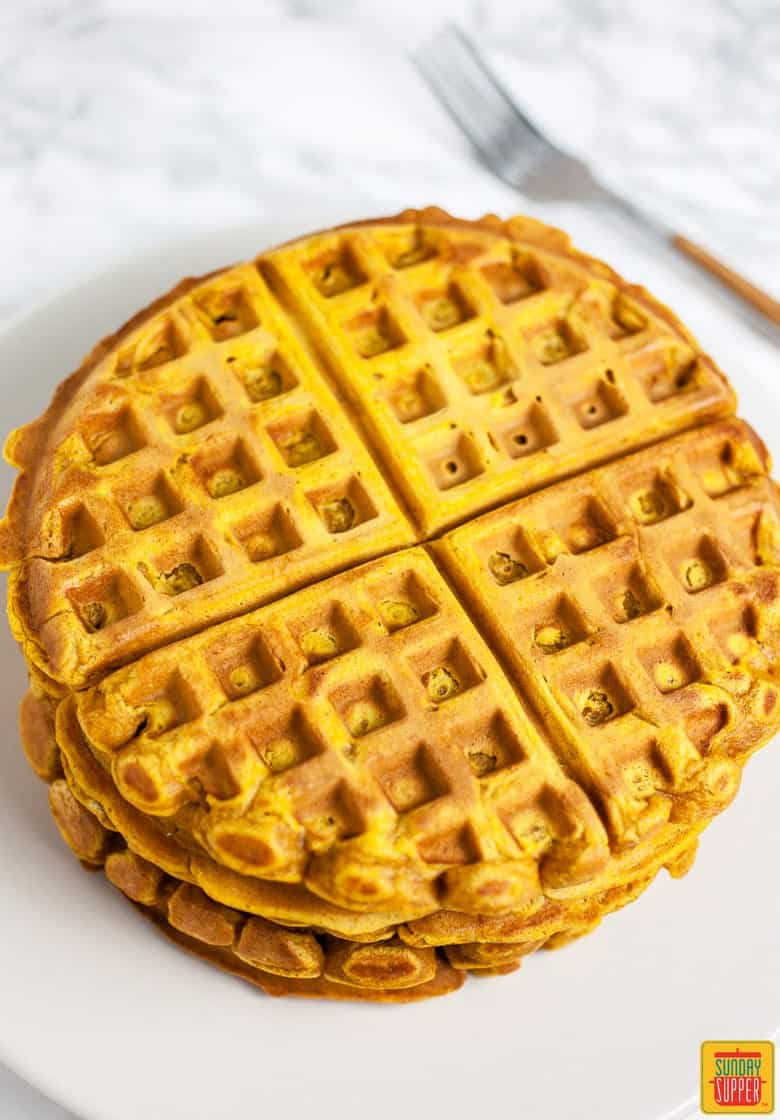 Pumpkin Waffle Recipe cooked and served on a white plate