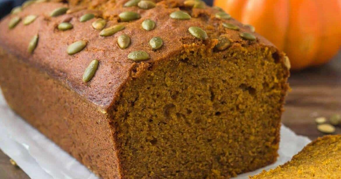 A loaf of Starbucks Pumpkin Bread that's moist & flavorful