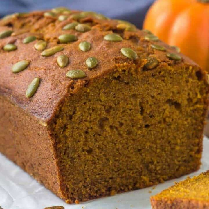 A loaf of Starbucks Pumpkin Bread that's moist & flavorful