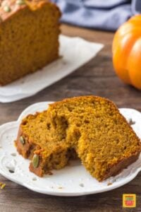 A slice of warm Starbucks copycat pumpkin bread