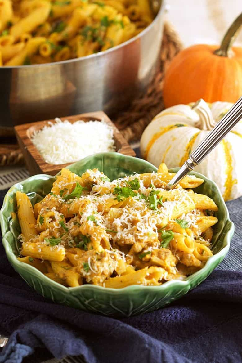 Savory Pumpkin Recipes - Pumpkin Pasta with Sausage and Sage