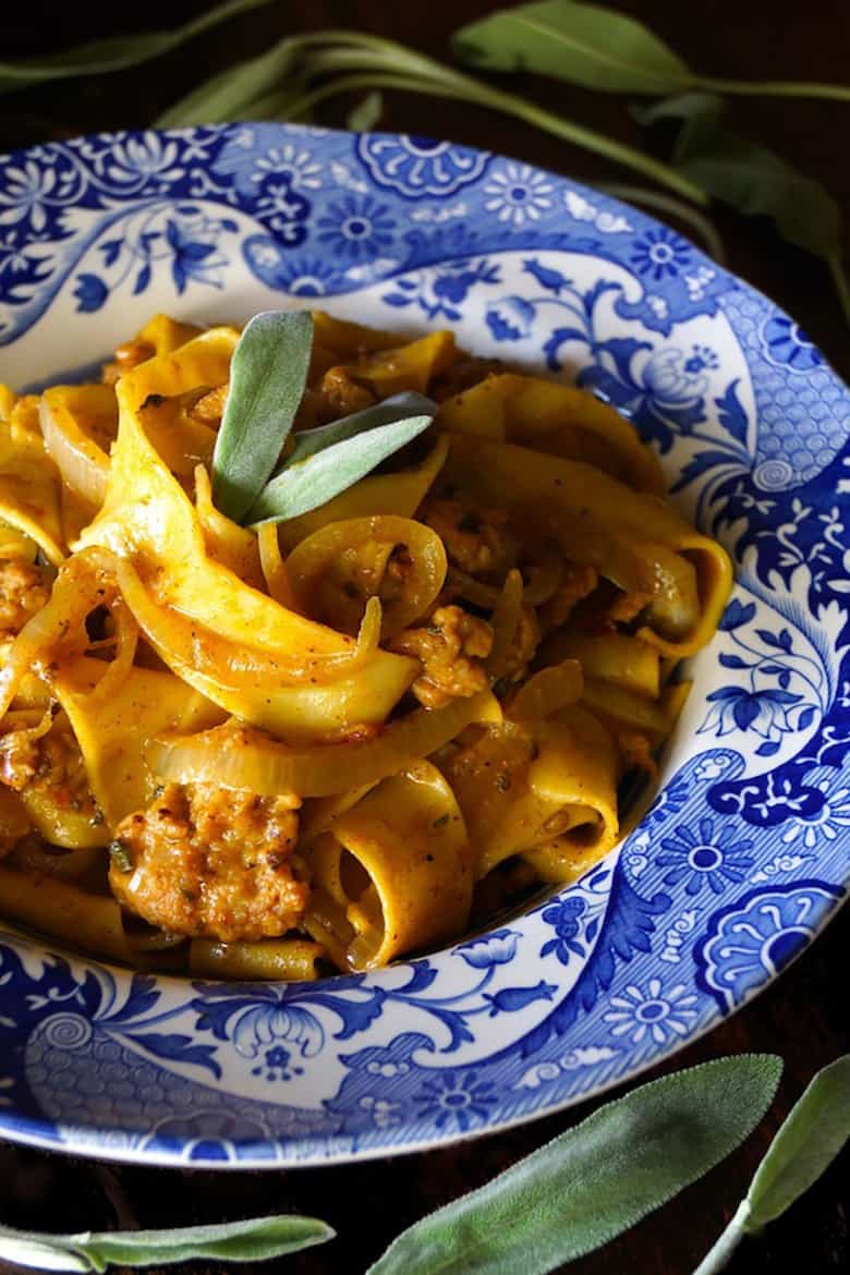 Savory Pumpkin Recipes - Spiced Chicken Sausage Pumpkin Pappardelle Pasta
