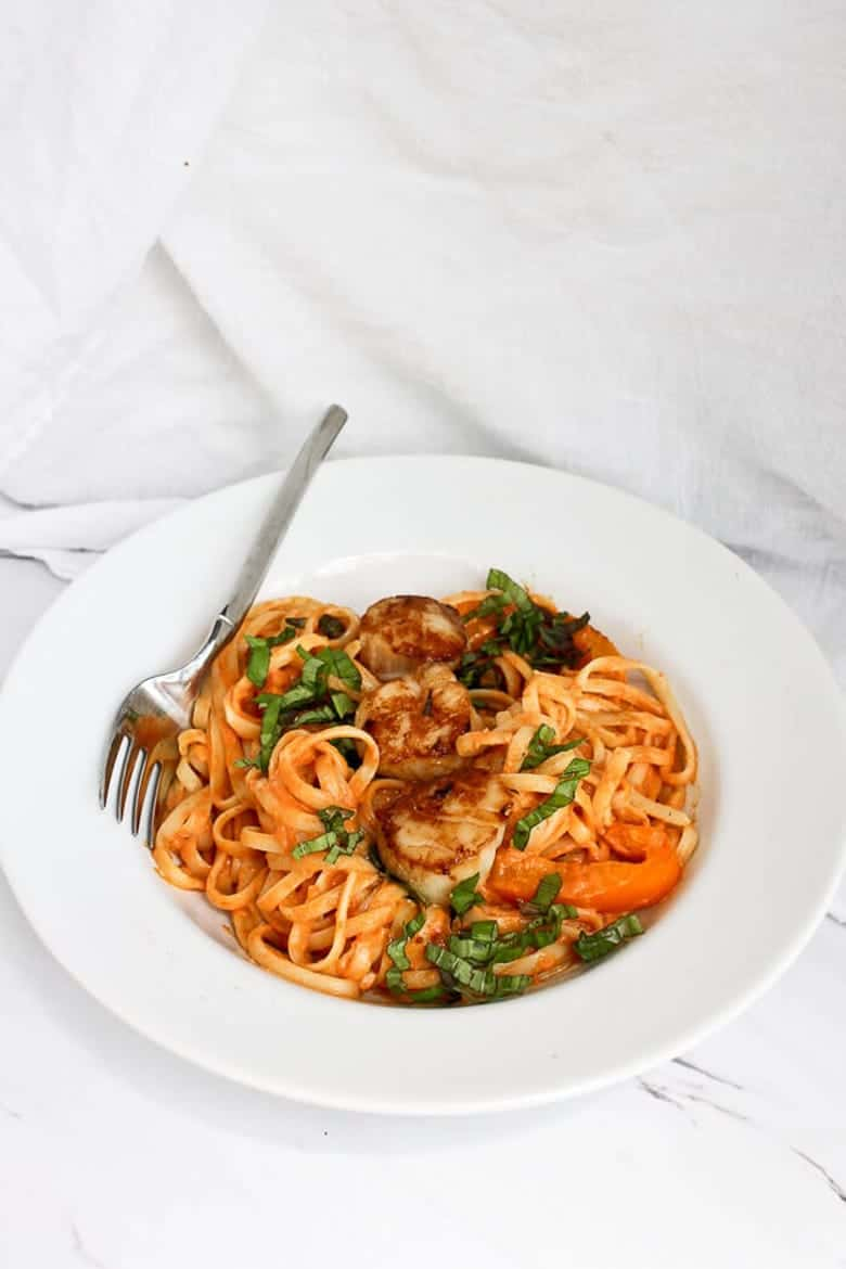 Savory Pumpkin Recipes - Seafood Alfredo with Scallops and Pumpkin