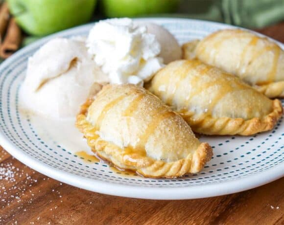 Caramel Apple Empanadas with Cinnamon Ice Cream and Whipped Cream