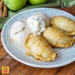Caramel Apple Empanadas with Cinnamon Ice Cream and Whipped Cream