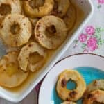 Sliced Baked Apples in a pan and on a plate