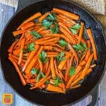 Brown Sugar Glazed Carrots in a skillet