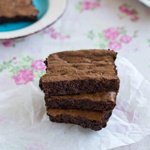 Decadent and delicoous Gluten Free Fudge Brownies on a table