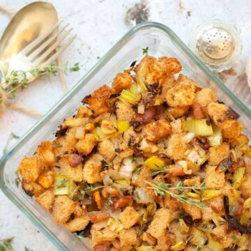 Gluten Free Stuffing in a casserole dish - best Thanksgiving side dishes