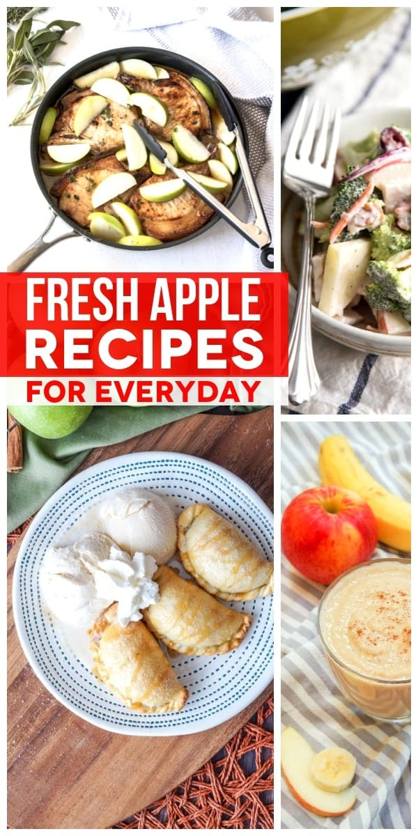 From savory apple recipes for breakfast, lunch or dinner to your favorite apple dessert recipes, this list of our favorite fresh apple recipes for everyday has all the apple recipes you need! #SundaySupper #applerecipes #apples #applepie #recipeseasyfast #recipeideas #recipecollection
