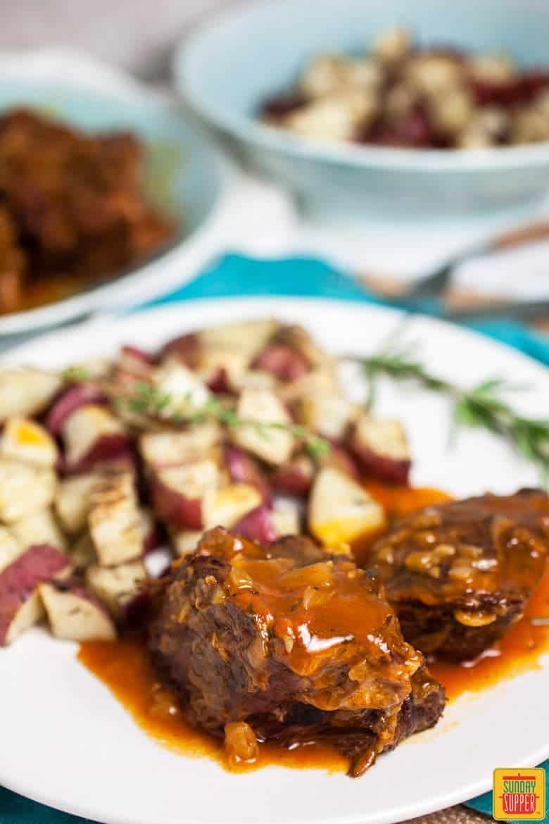 Plate with Instant Pot Pot ROast and potatoes