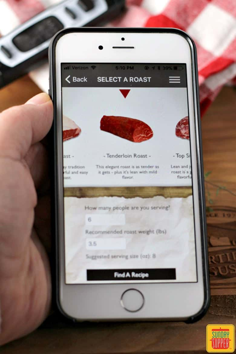 selecting cut of beef on roast perfect app