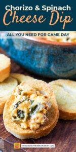 chorizo cheese dip with spinach pin image