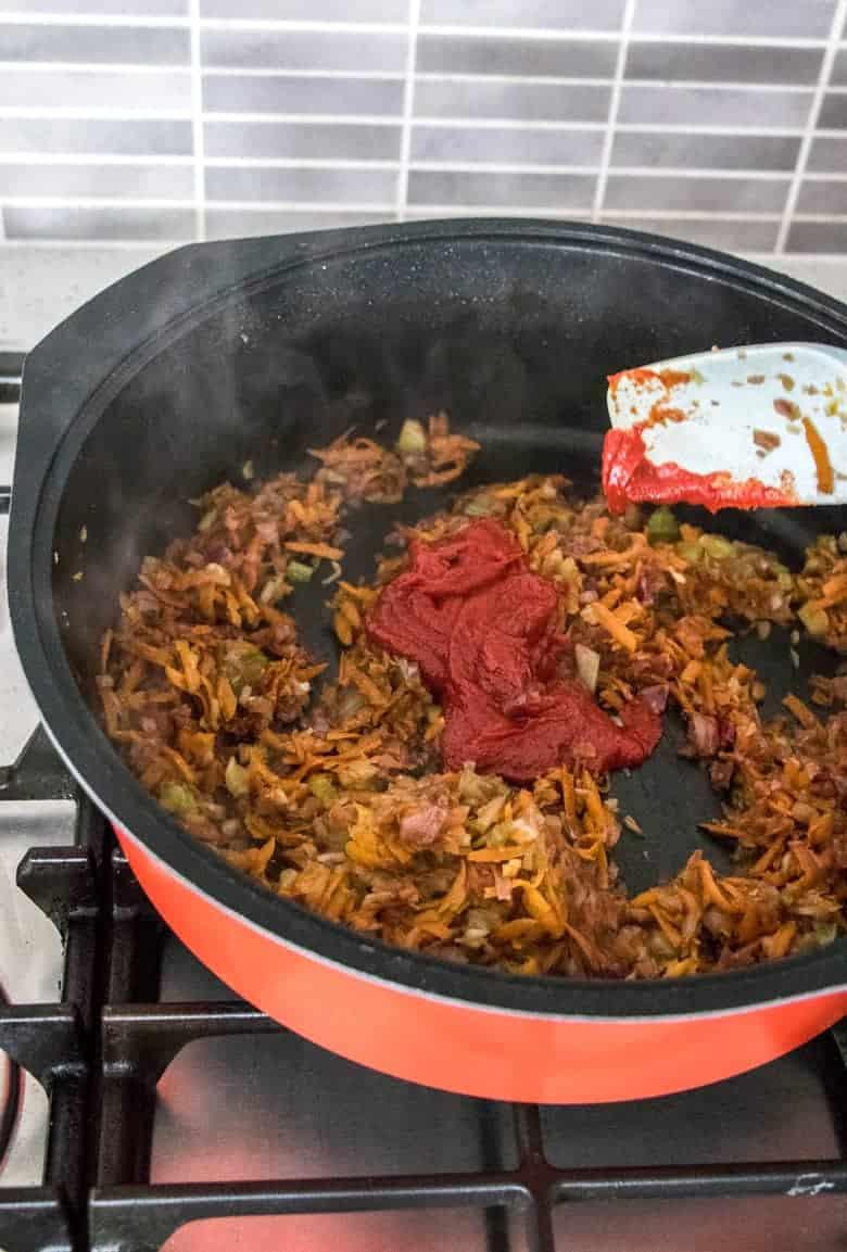 Cooking vegetables for Slow Cooker Beef Ragu