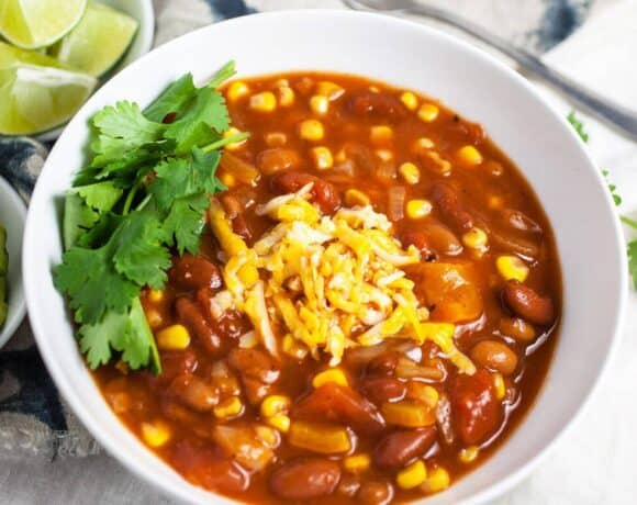 Slow Cooker Vegetarian Chili #SundaySupper