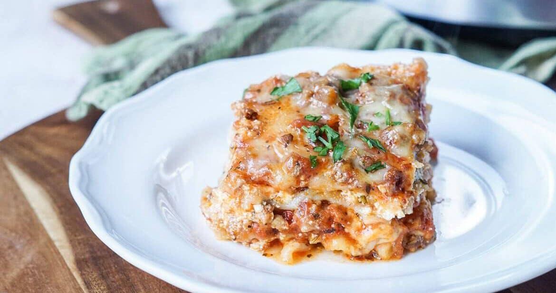 Slice of Slow Cooker Lasagna