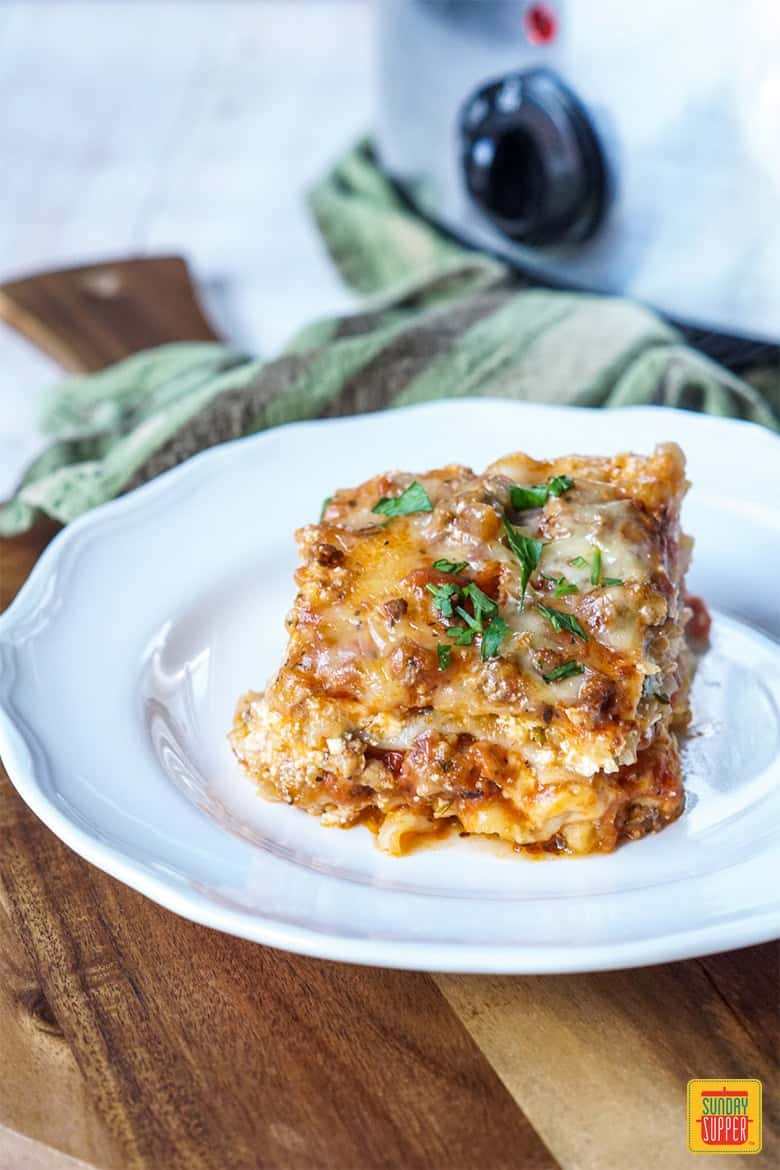 Slice of Slow Cooker Lasagna
