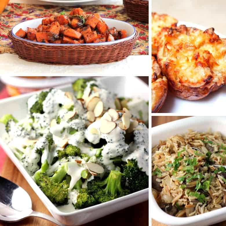 A collage of some of the best side dishes for roast beef, including marmalade sweet potatoes and apple cheddar yorkshire puddings