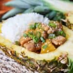 Pineapple Teriyaki Chicken in a Pineapple Boat