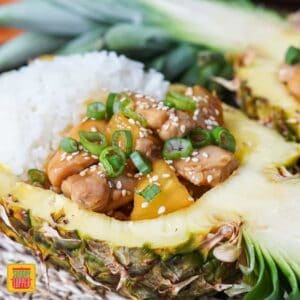 Pineapple Teriyaki Chicken in a Pineapple Boat
