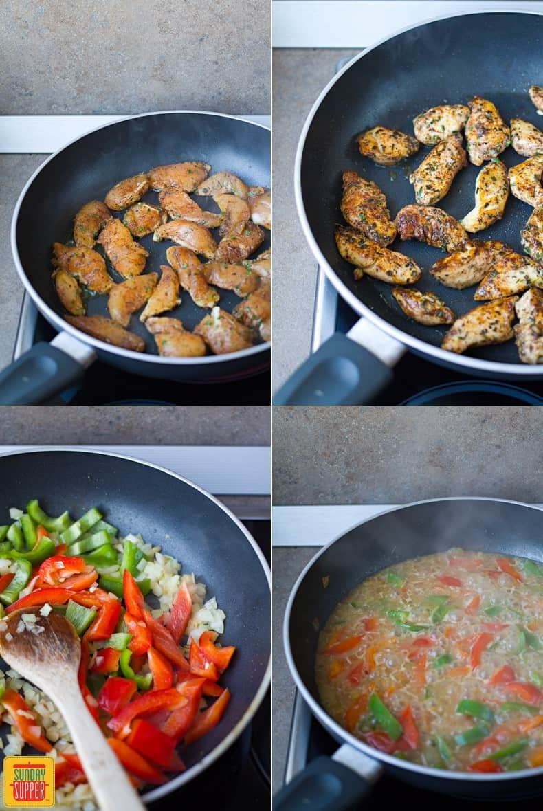 Step by step cooking the Rasta Pasta recipe for two - chicken and vegetables cooked in a pan