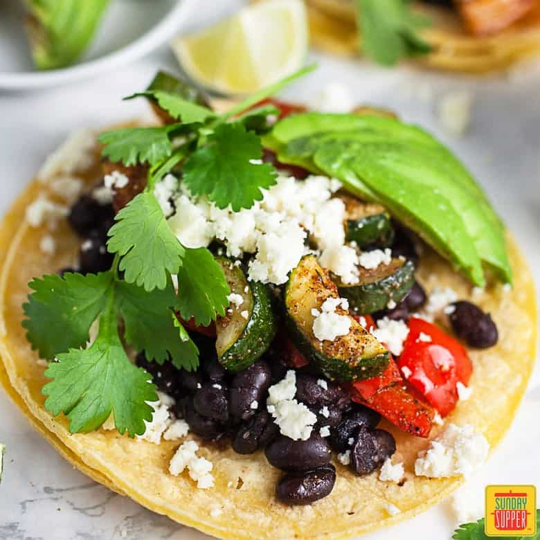 Vegetarian Taco Recipe for Two  on a white marble surface