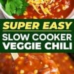 Slow cooker vegetarian chili recipe pin