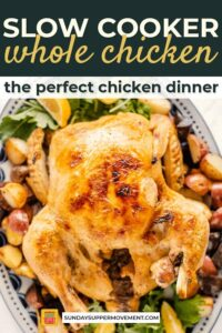 slow cooker whole chicken pin image