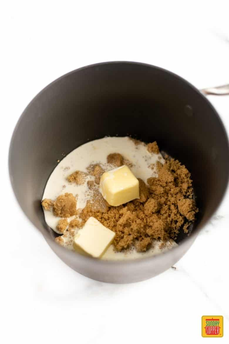 Butterscotch Sauce Recipe - the ingredients for butterscotch sauce in a pot