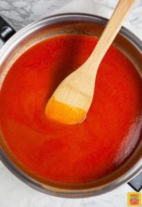 How to make buffalo sauce - buffalo sauce in a pan