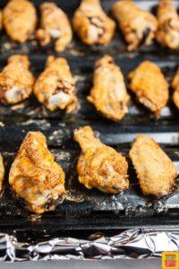 Buffalo wings on a baking rack