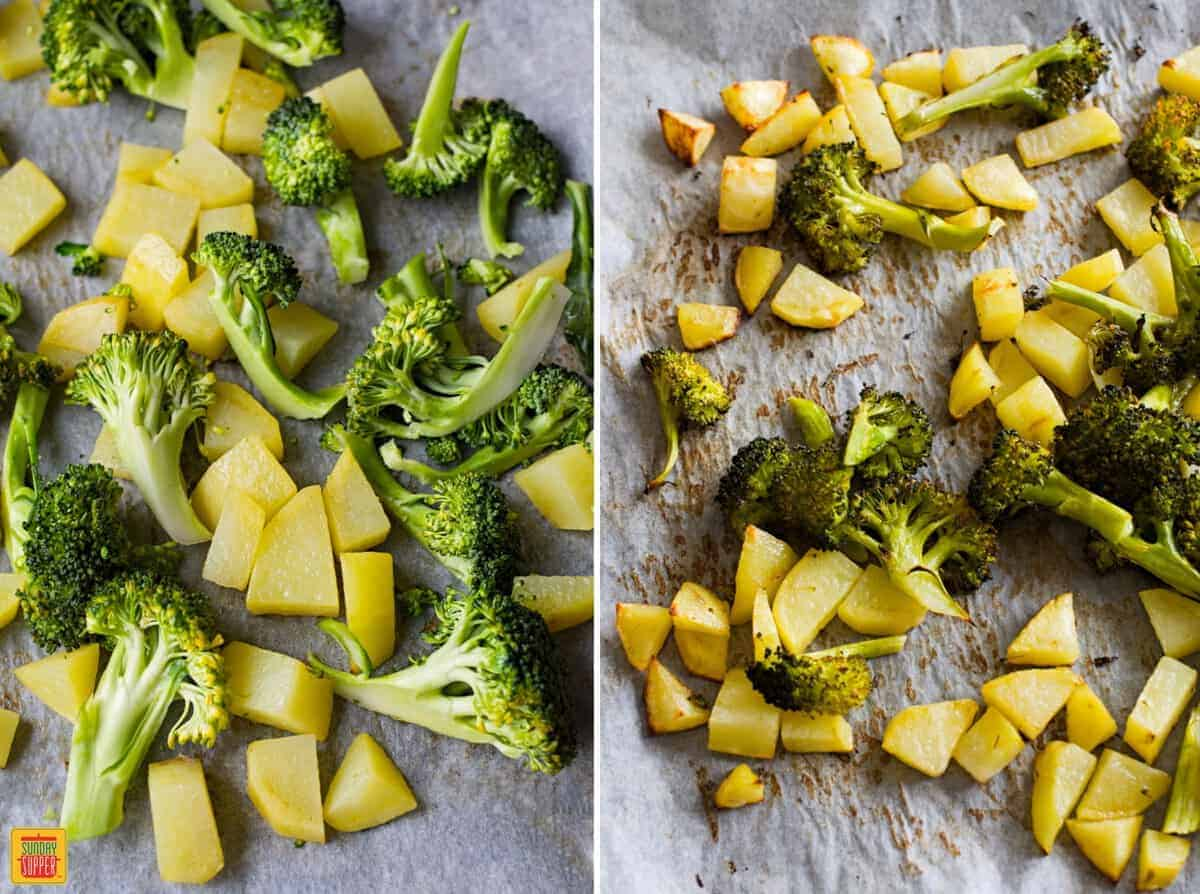 Potatoes and broccoli laid out to roast for vegetables with cheese sauce