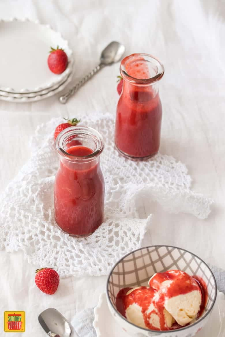 Two jars of strawberry sauce using fresh strawberries - Fresh Strawberry Desserts