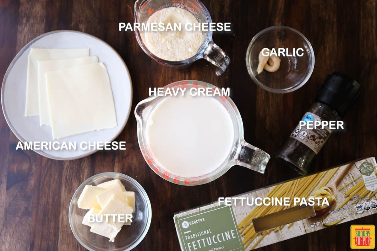 Fettuccine alfredo ingredients with labels