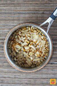 Simmering ingredients for homemade teriyaki sauce in a saucepan