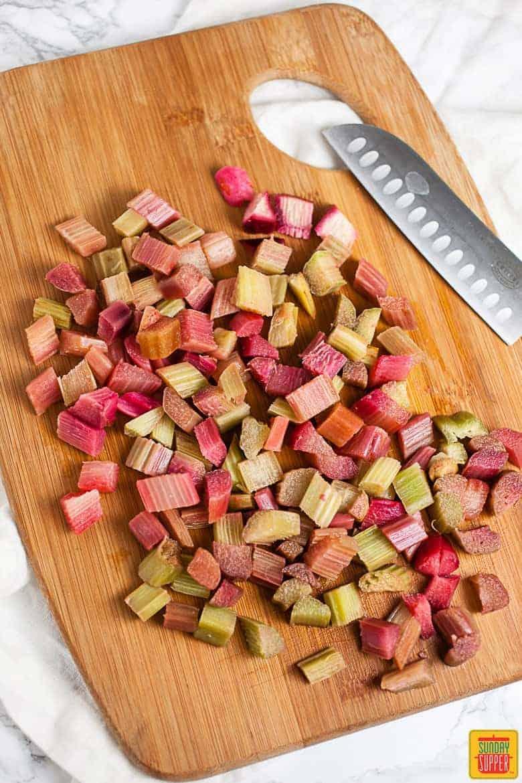 Rhubarb bread: rhubarb chunks on a cutting board