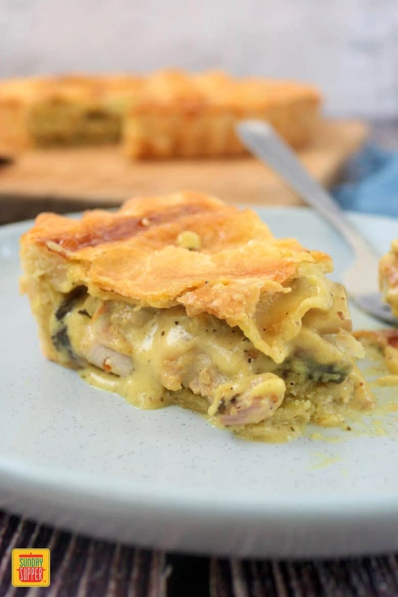 Slice of Chicken and Mushroom Pie - easy recipes for a dinner party