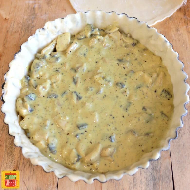 Filling the Chicken and Mushroom Pie