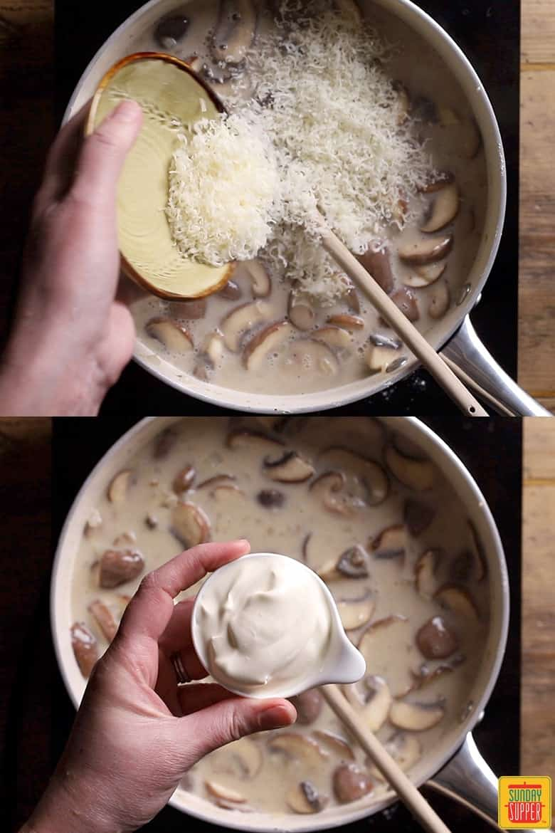 How to make mushroom pasta step by step: adding the parmesan and creme fraiche