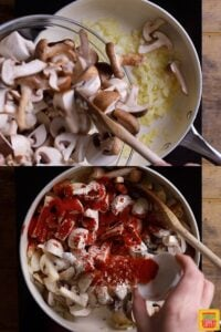 how to make hungarian cooking mushrooms in a skillet with paprika and floursoup