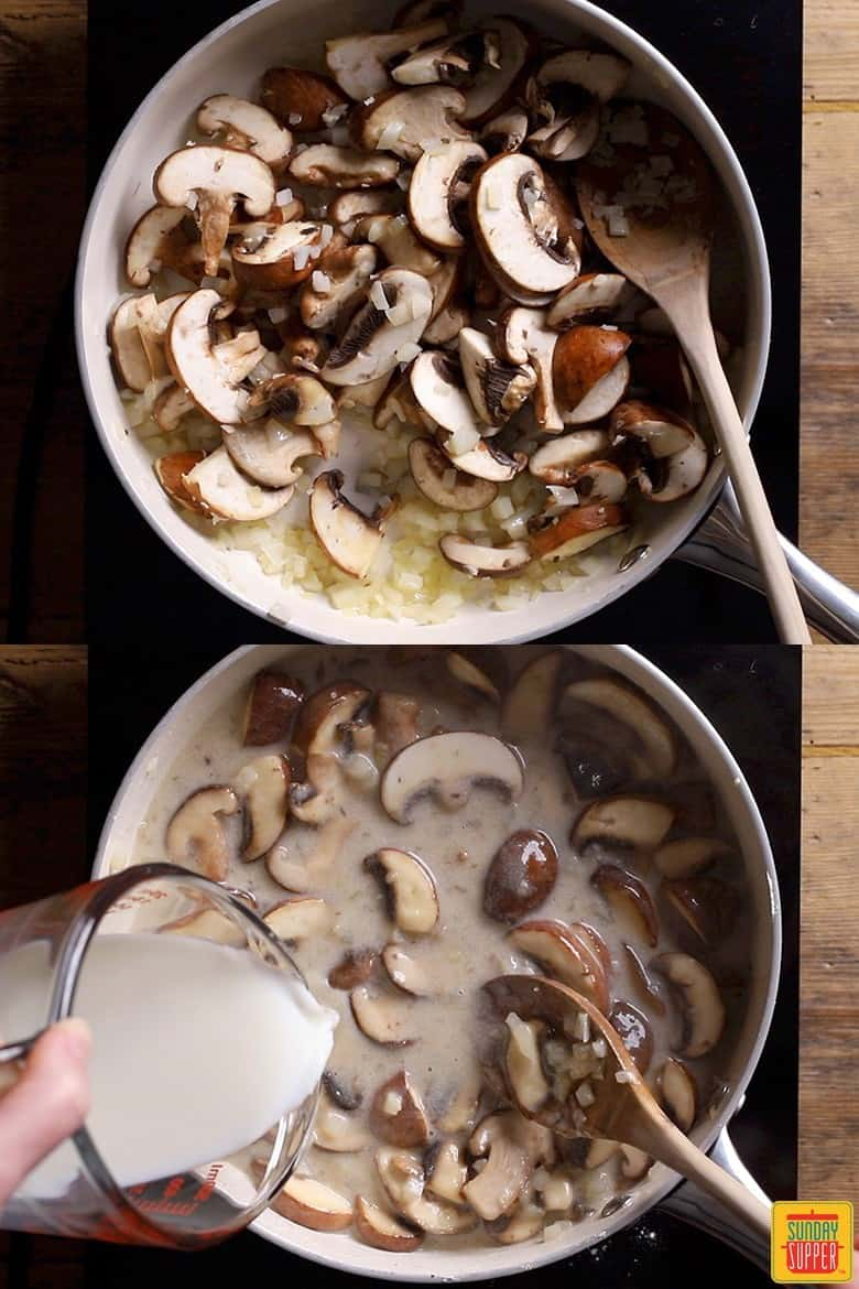 How to make mushroom pasta step by step: cooking the mushroom sauce