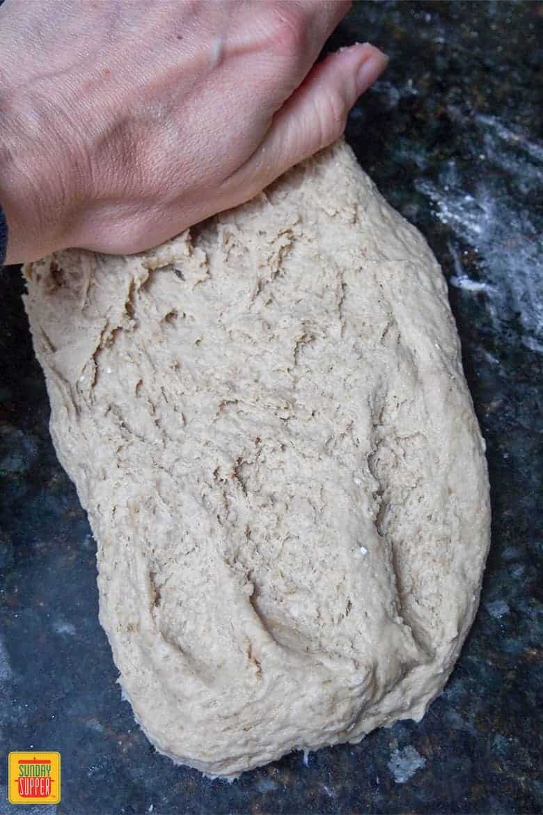 Kneading dough for sprouted bread