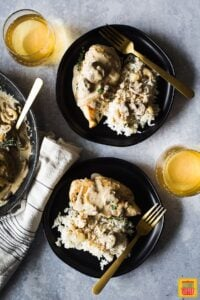 chicken breast and mushroom recipe plated with rice