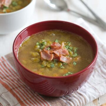 split pea soup topped with bacon