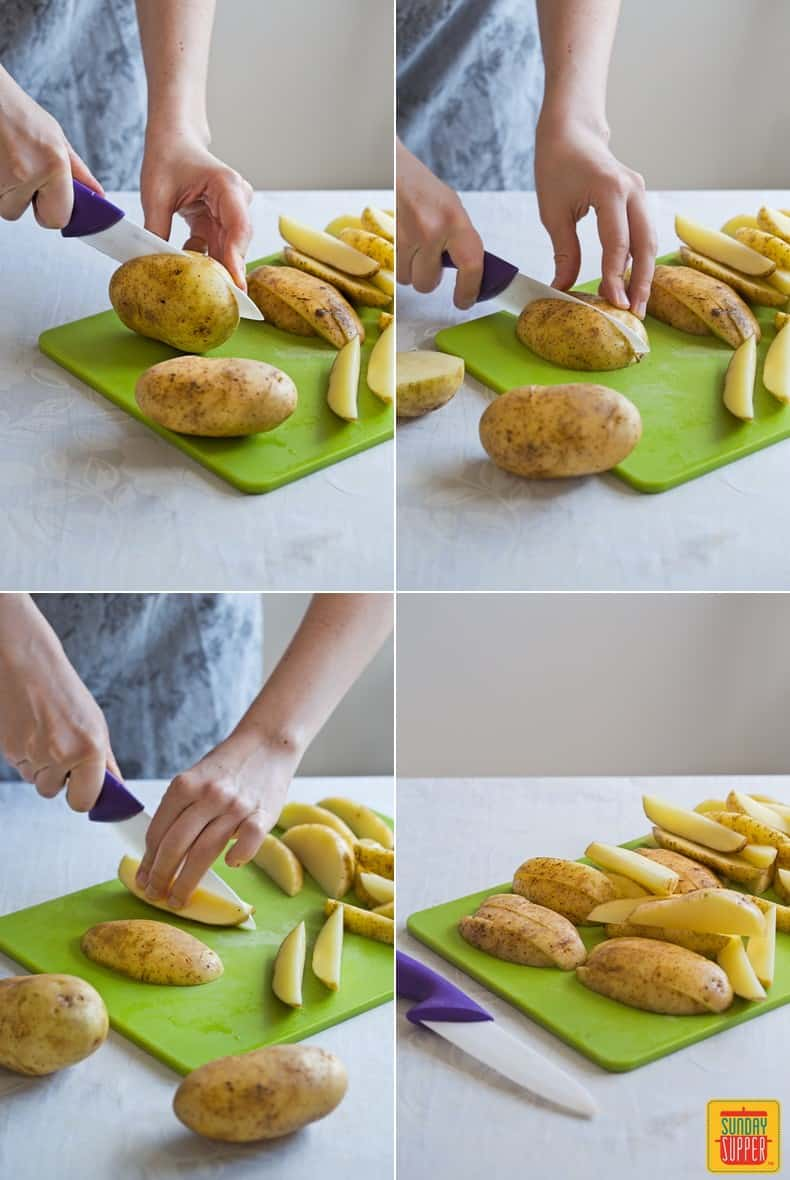 how to cut potato wedges: step by step photos