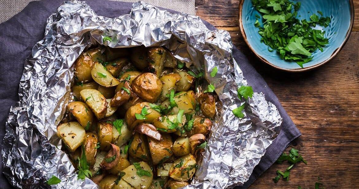 Foil pack potatoes served with fresh parsley