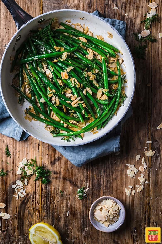 Green bean almondine in the pan