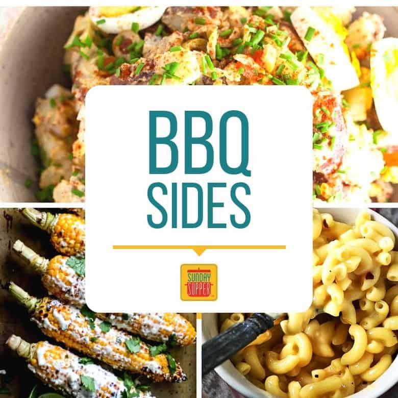 Collage of three side dishes for BBQ: Spanish potato salad, Mexican street corn, and easy creamy mac and cheese