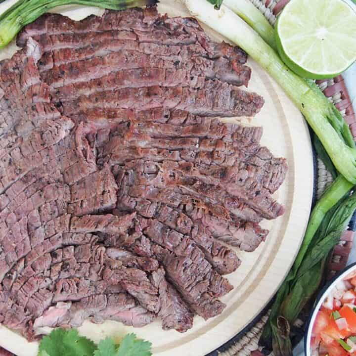 Authentic carne asada recipe - meat on board